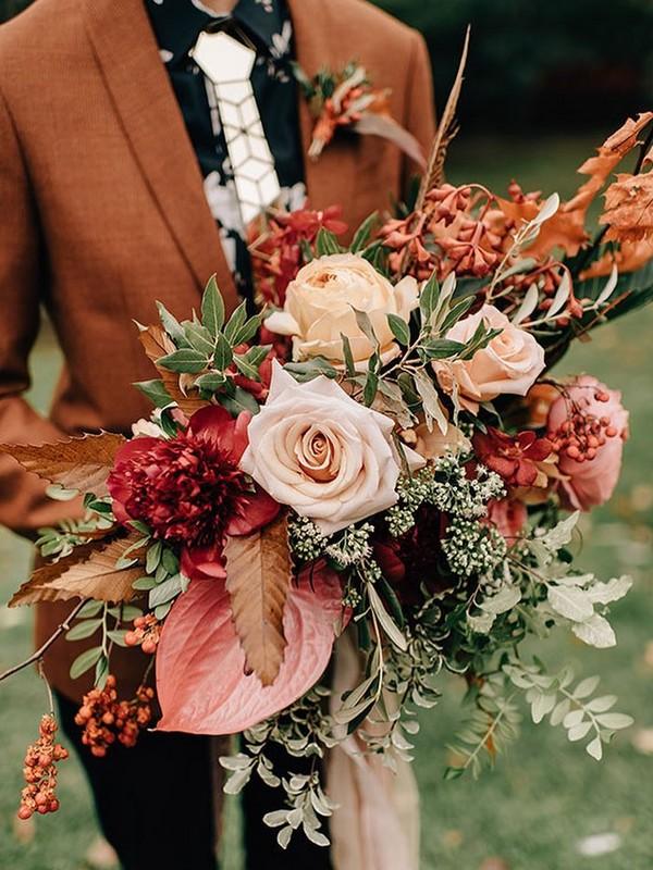 sunset orange red greenery wedding bouquet11