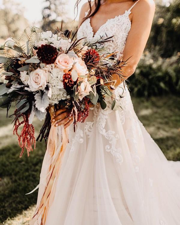 fall blush burgundy and greenery wedding bouquet 17