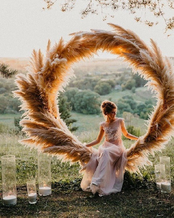 pampas wedding wreath backdrop