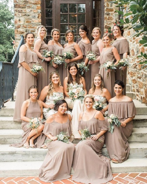 taupe mismatch bridesmaid dresses and greenery wedding bouquet