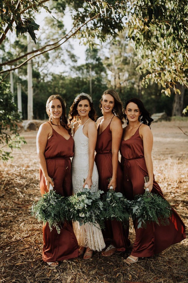 rust boho bridesmaid dresses