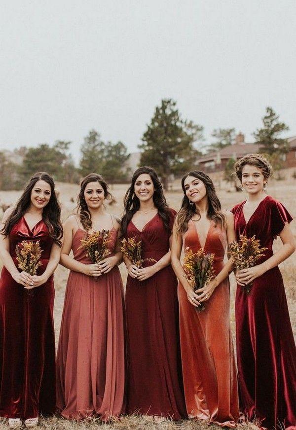 rust velvet mismatched case bridesmaid dresses