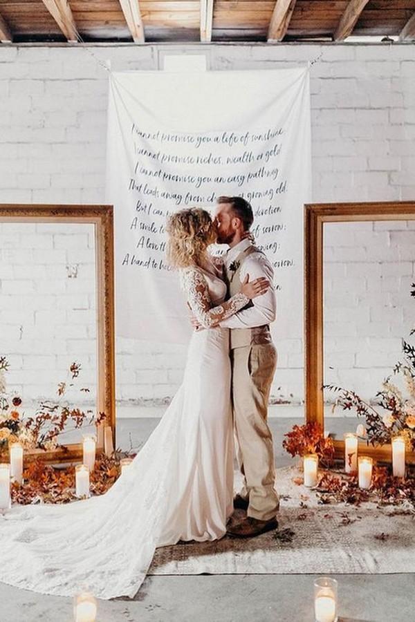 rust wedding color background with frames candles and flowers rachelantigua