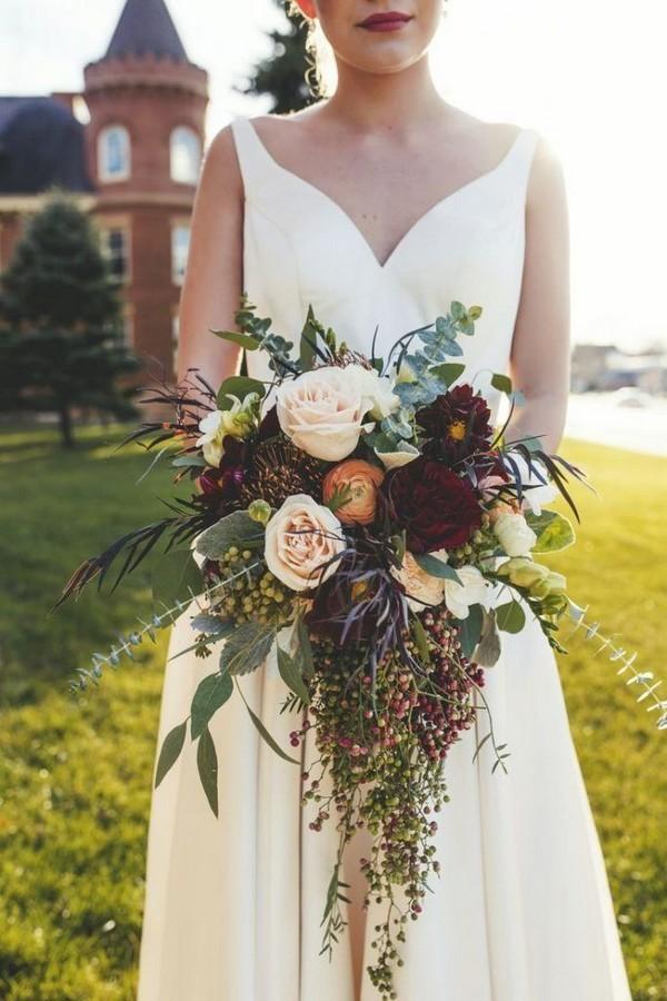 Gorgeous fall cascading wedding bouquet