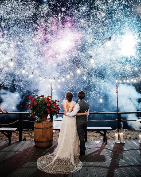 Smoke bomb night wedding photo