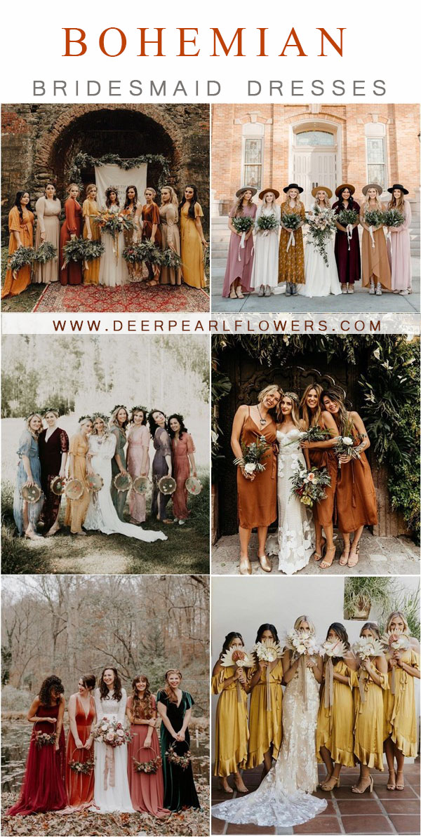 bohemian wedding ideas- boho bridesmaid dresses