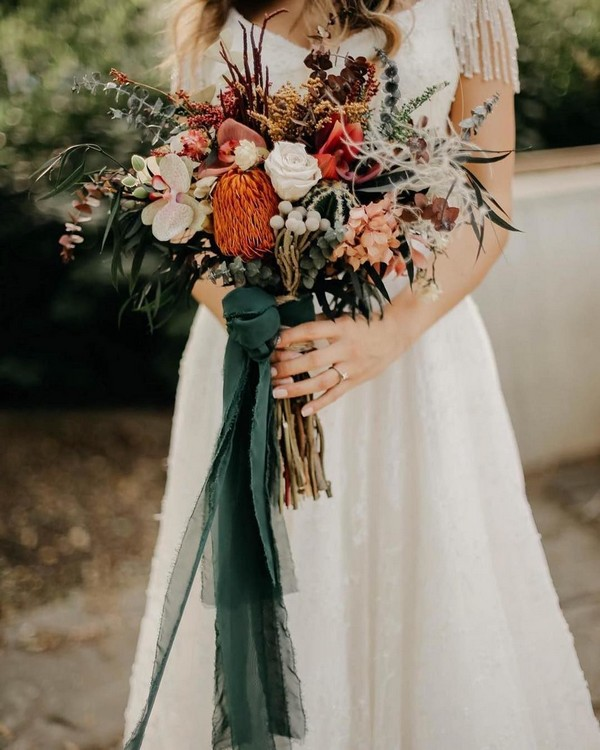 Fall deep orange wedding bouquet