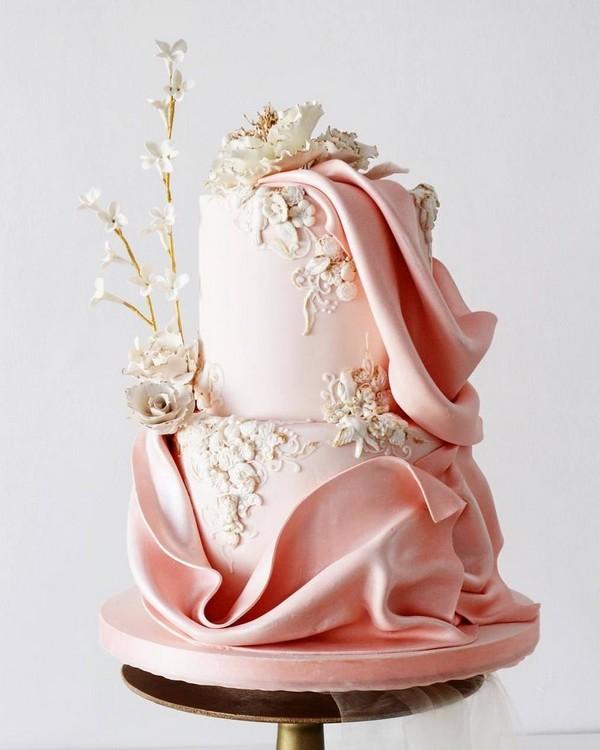 vintage blush pink wedding cake6