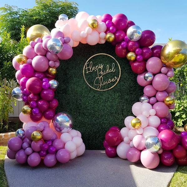 deep pink balloons wedding backdrop 14