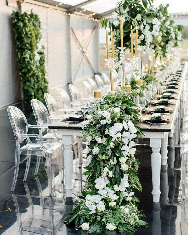 greenery runner wedding centerpieces