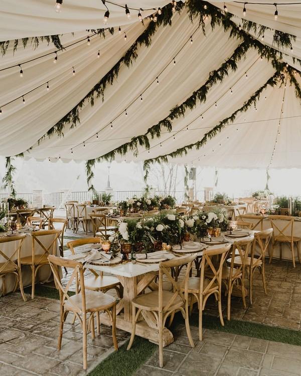 greenery wedding tent decor
