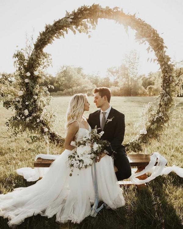 greenery wedding wreath backdrop