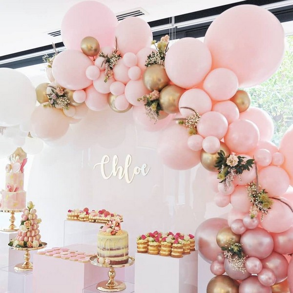 pink and gold balloons wedding cake reception decor 16