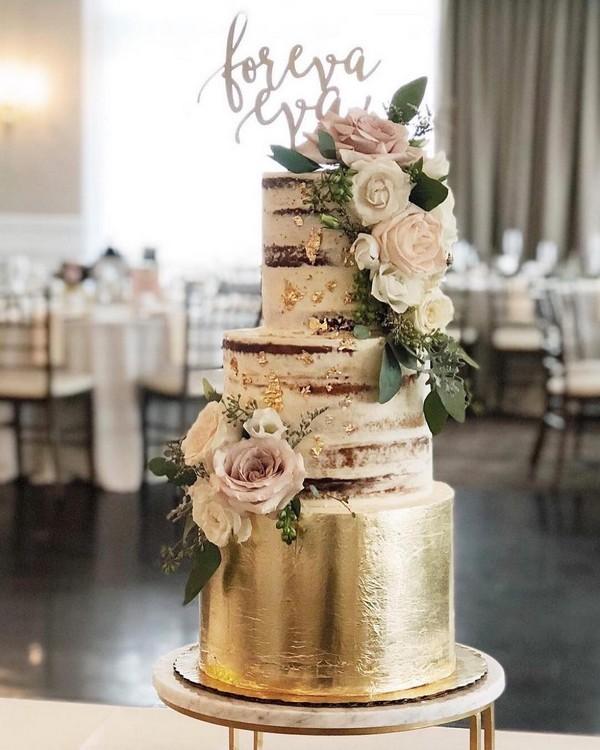 rustic gold naked wedding cake 10