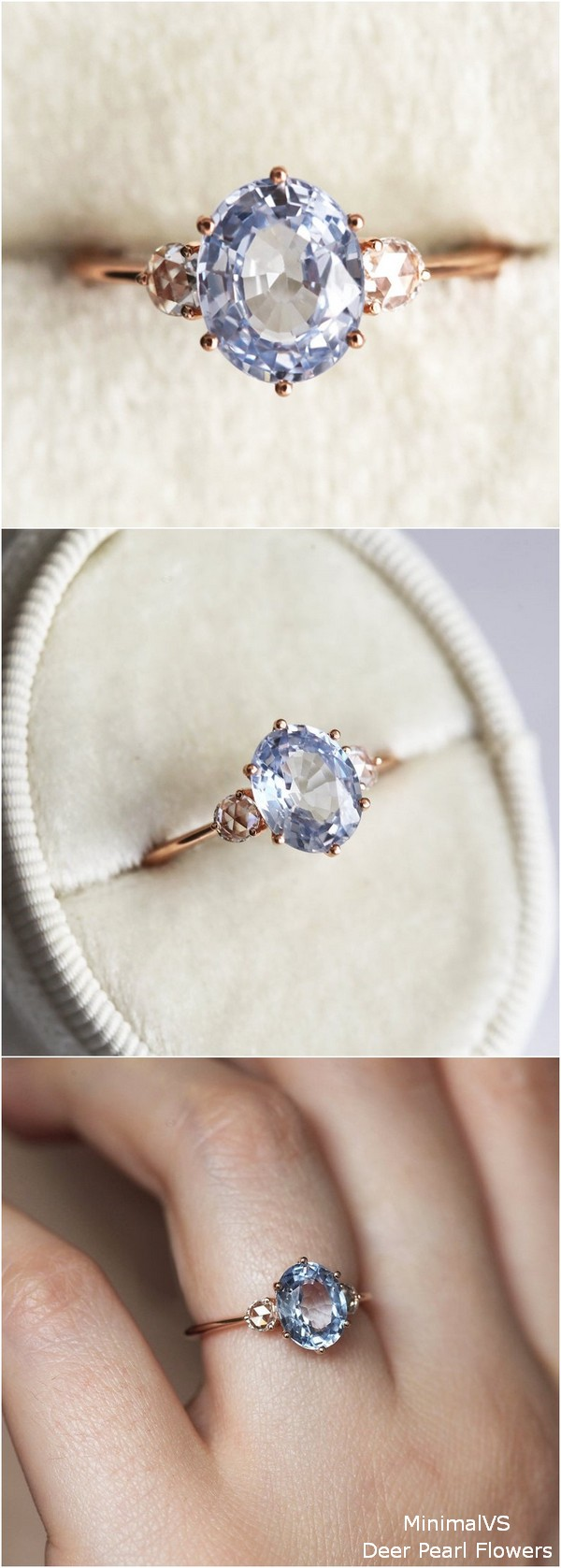 Blue Sapphire Engagement Ring with Rose Cut Diamonds