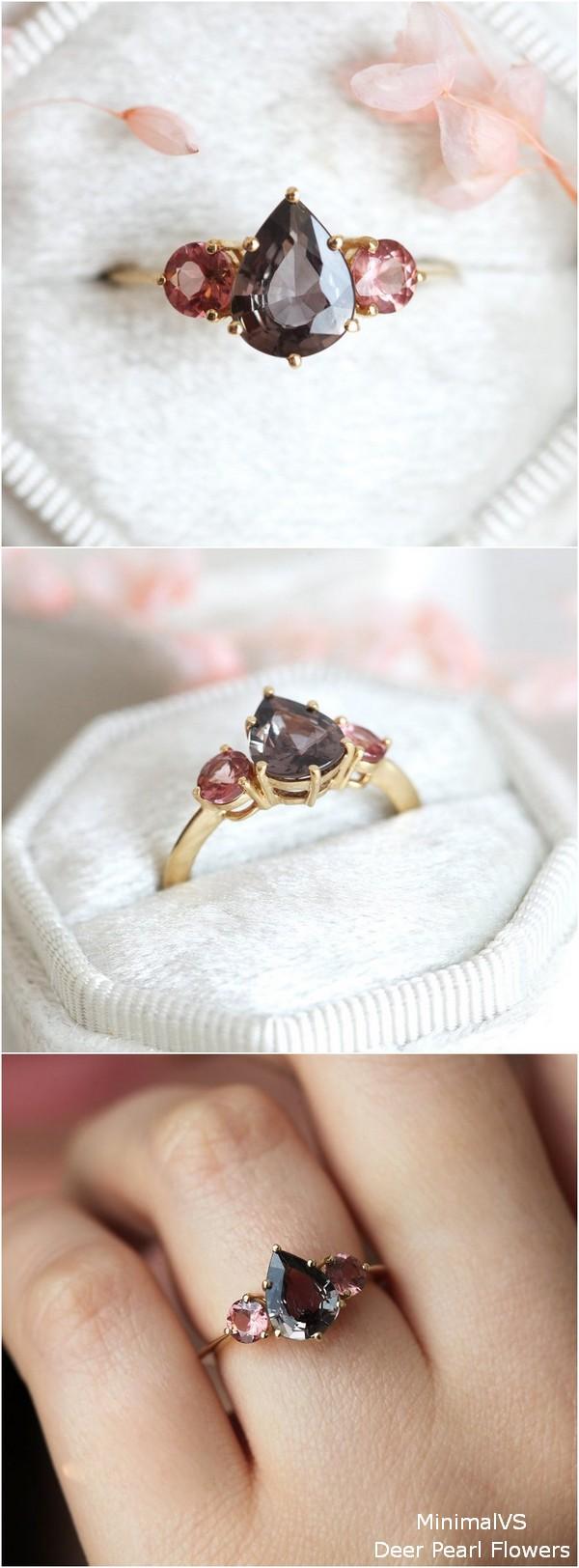 Burgundy Sapphire Engagement Ring with Malaya Garnet