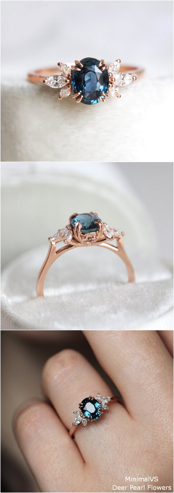 Oval Blue Sapphire Engagement Ring with Side Diamonds