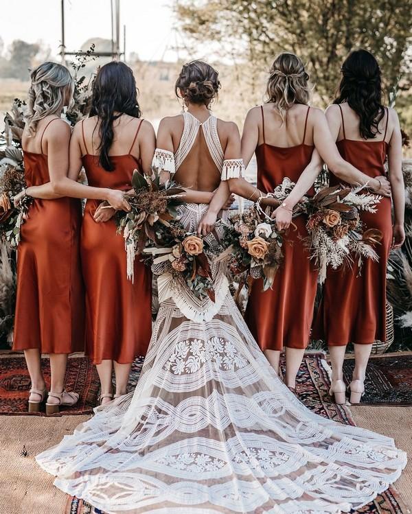 Dusty orange boho case bridesmaid dresses