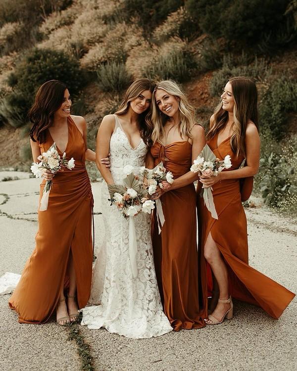 Dusty orange vintage fall bridesmaid dresses