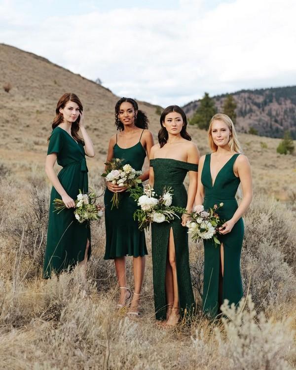 Mix and match hunter green bridesmaid dresses