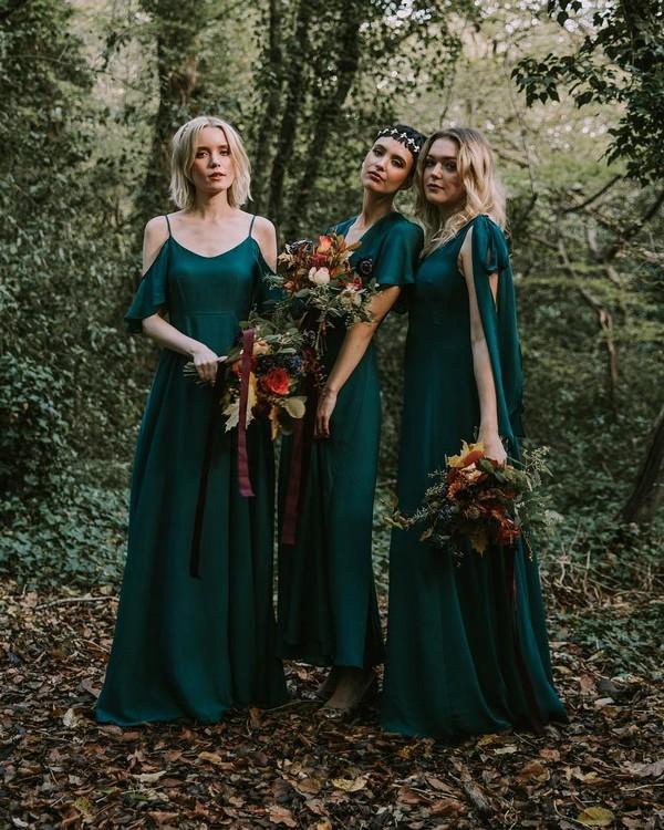 Mix and match emerald bridesmaid dresses