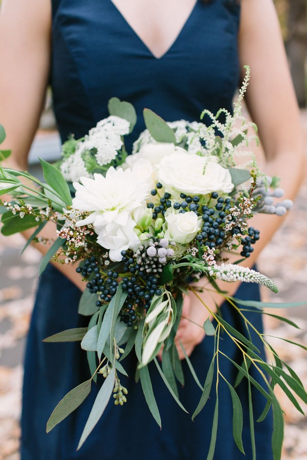 navy and greenery fall wedding bouquet