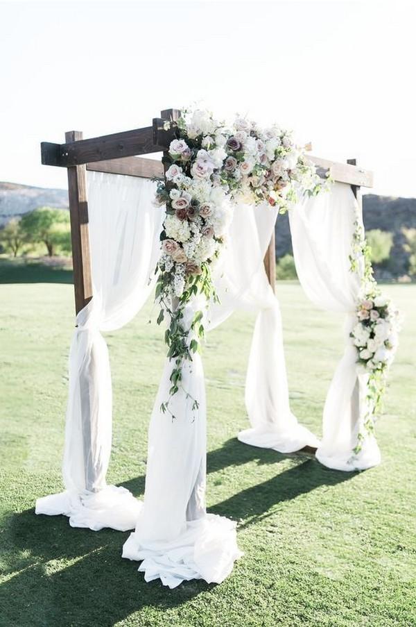 outdoor simple greenery wedding backdrop