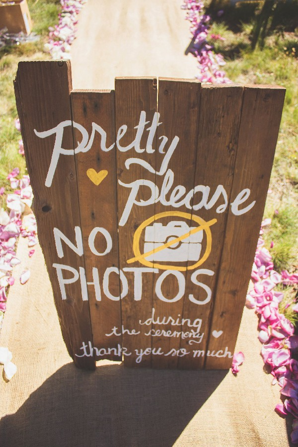 diy real wood unplugged wedding sign