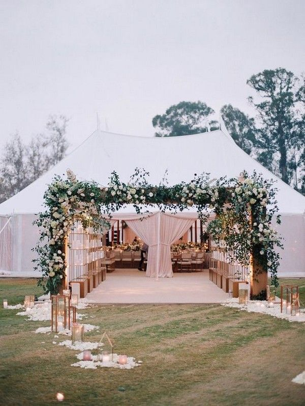 greenery wedding tent trance ideas