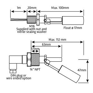 Stainless Steel Liquid Level Sensor Stainless Steel Switch