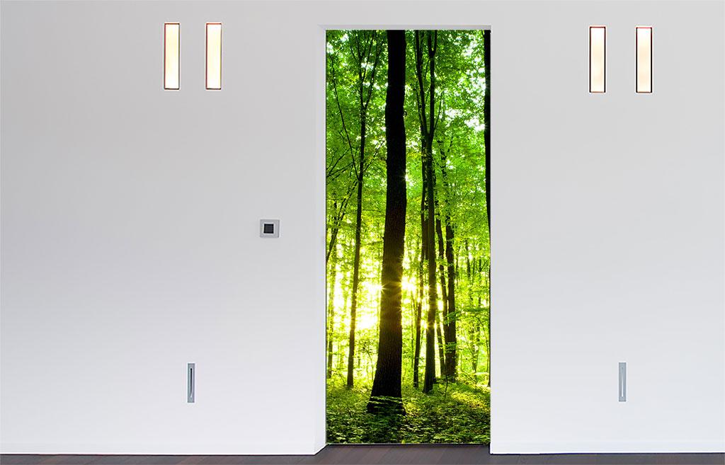 Deursticker Groen bos deursticker  De Fabriek Muurstickers
