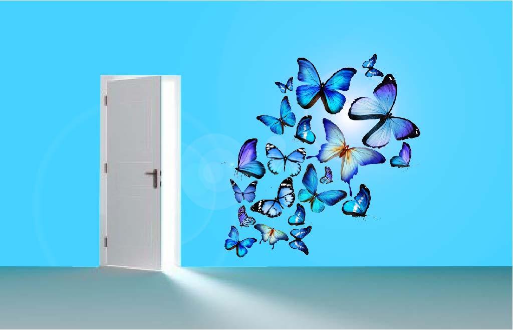 Muursticker Vlinders blauw  De Fabriek Muurstickers