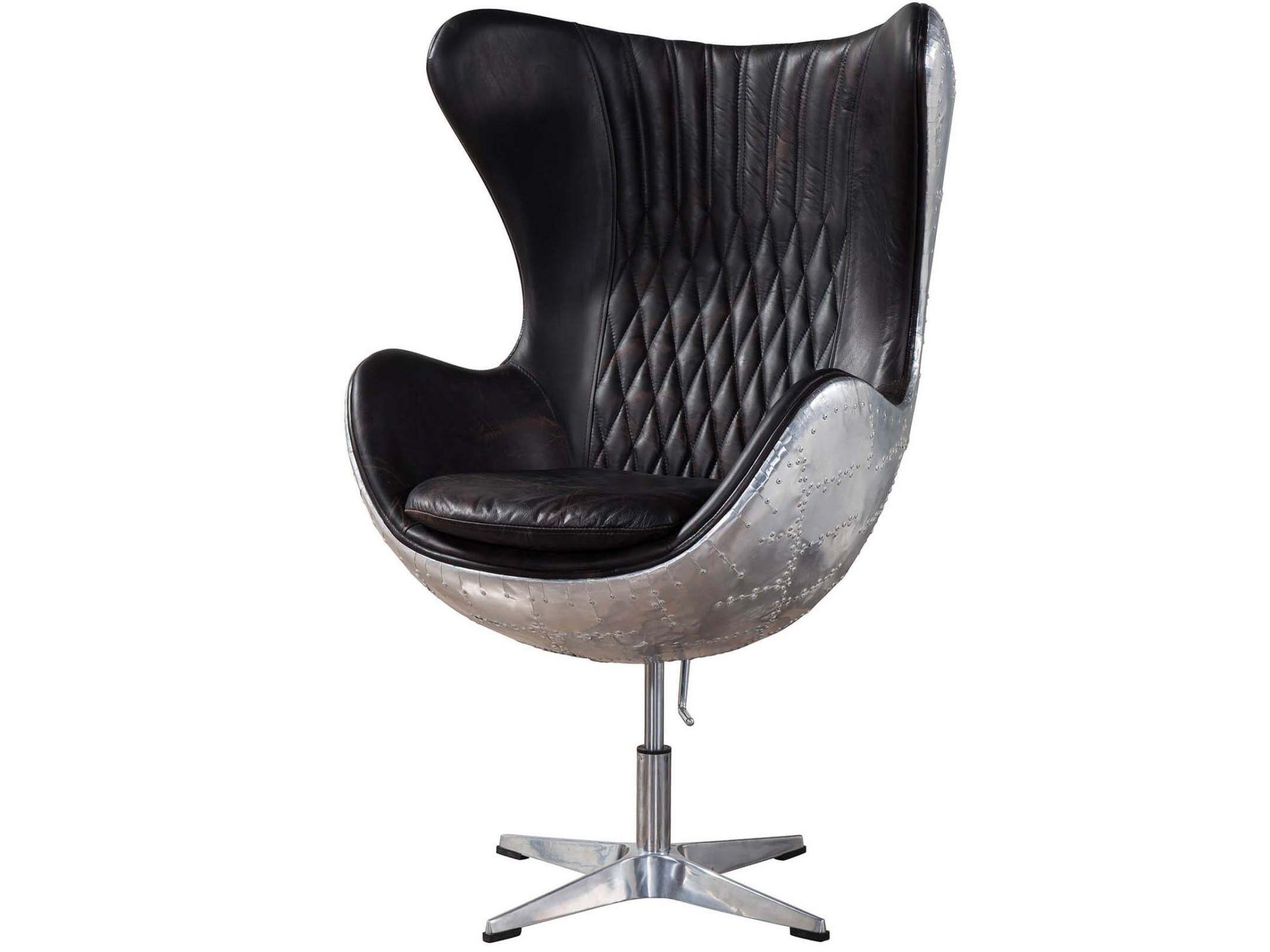 Aviator Vintage Leather Egg Chair,Fiberglass Inner Frame+