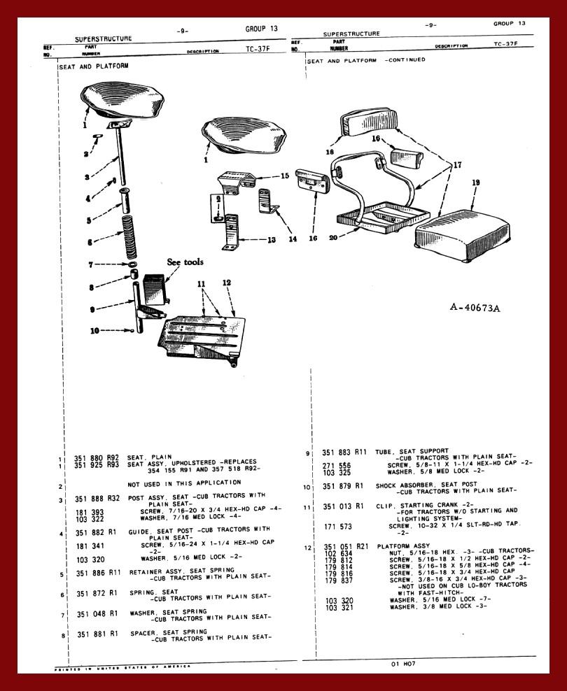 hight resolution of farmall cub chassis seat floorpan