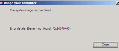 Errore ripristino Windows 2008 R2 : Element not found. (0x80070490)
