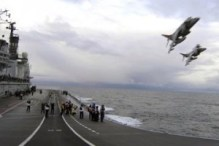 Final Harrier jet launch from HMS Ark Royal