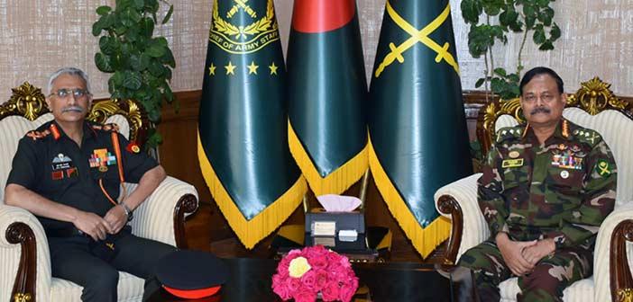 Gen MM Naravane with his Bangladesh counterpart General Aziz Ahmed.