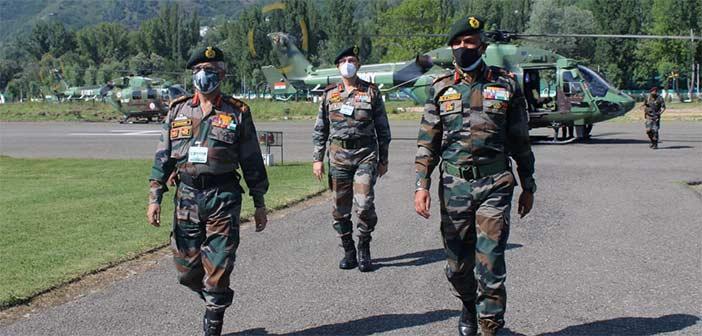 Indian Army Chief Gen MM Naravane in Kashmir Valley.
