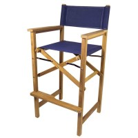 SeaTeak Folding Captain's Chair with Fabric Seat and Back ...