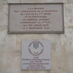 Plaques commémoratives aux combattants qui ont libéré Lyon le 3 septembre 1944 dans la cour d'honneur de l'hôtel de ville