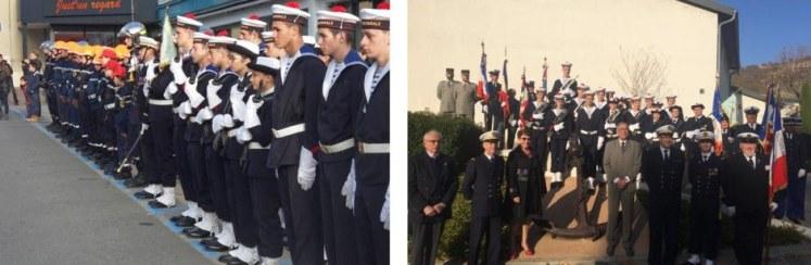 Le piquet d'honneur au monument aux morts puis suite à la cérémonie, séance souvenirs du groupe DRIMM-PMM de Lyon au monument de l'Ancre Marine de Condrieu
