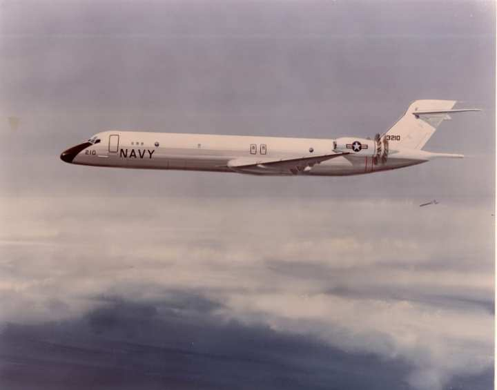 "This artist's conception of the ""Advanced USN Patrol Aircraft"" shows a plane similar to the DC-9 airliner, known to the Navy as the C-9B Skytrain II transport, but with unducted fan engines. McDonnell Douglas via Robert F. Dorr"