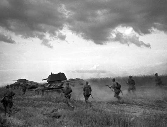 Soviet T-34s advance on German forces during World War II. T-34s gave German forces trouble during World War II and gave U.S. forces trouble at the beginning of the Korean War. RIA Novosti photo