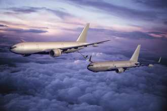 Boeing imagery of a KC-777 refueling a KC-767. Boeing is offering either of two tankers, or perhaps a combination of both, under its 7A7 proposal. Imagery courtesy of The Boeing Company