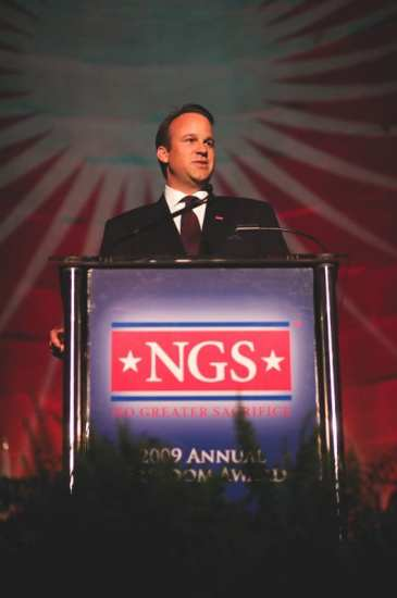NGS Founder and Chairman Kirk T. Rostron speaking at the No Greater Sacrifice Foundation's 2nd Annual Freedom Awards Dinner on May 5th, 2009. NGS photo.