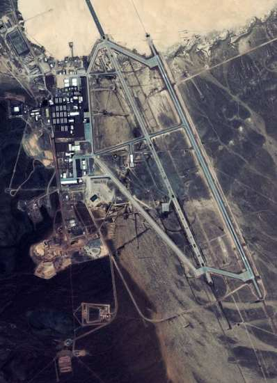 A GeoEye photo of Area 51 taken in July 2007.  Photo courtesy of GeoEye.