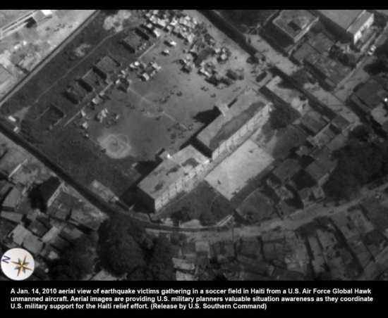 Imagery from a Global Hawk of the damage to the Haitian capital after the January 2010 earthquake. The Air Force is eager to increase its small fleet of the UAVs. DoD photo.