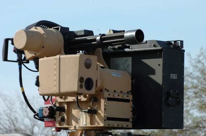 A Dillon Aero M134D Minigun and DAB4160 ammo can in use on a remote weapons system. Photo courtesy of Dillon Aero.