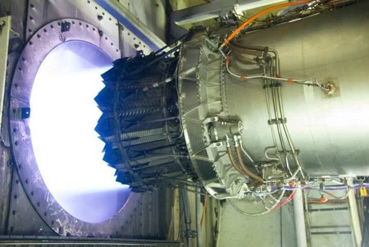 An F136 engine afterburner being tested at the GE Aviation facility in Evendale, Ohio. Photo courtesy of General Electric.