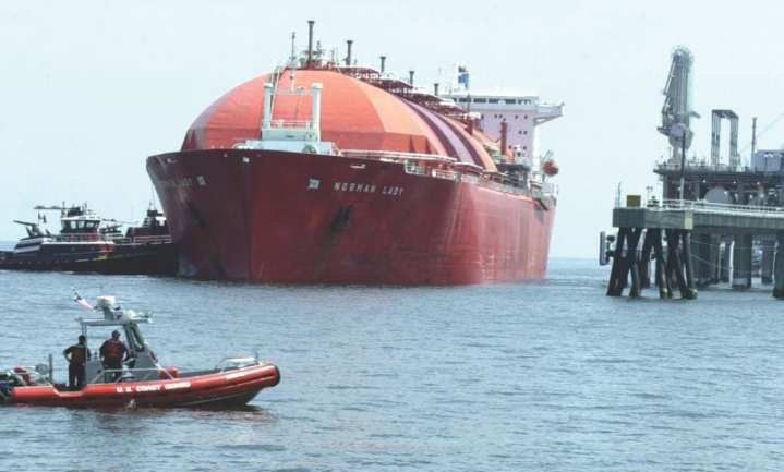 The Coast Guard provides a security zone for a shipment of liquefied natural gas into Cove Point, Md. The Liquefied Gas Carrier National Center of Expertise (LGCNCOE) will ensure the safety of the vessels that carry liquefied gases along with the port facilities that store and transfer them. Already, the LGCNCOE has designed a 40-hour comprehensive introductory LGC course for Coast Guard marine inspectors. It provides instruction on the technical aspects of the systems they will encounter, and in the regulatory background unique to liquefied gas storage and transport. USCG photo by PA3 Donnie Brzuska
